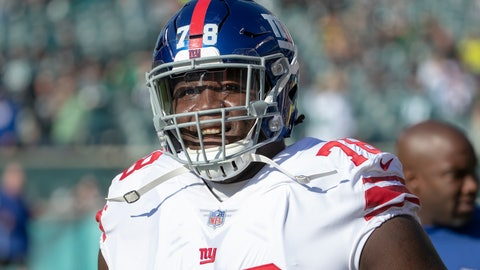 <p>               FILE - In this Nov. 25, 2018, file photo, New York Giants offensive guard Jamon Brown looks before an NFL football game against the Philadelphia Eagles in Philadelphia. After Matt Ryan agreed to restructure his contract to clear cap space, the Atlanta Falcons spent that money on two new starting guards, Jamon Brown and James Carpenter, to help protect the quarterback. (AP Photo/Chris Szagola, File)             </p>