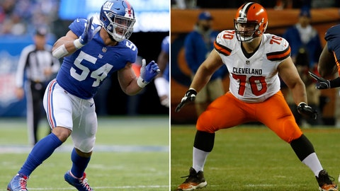 <p>               FILE - At left, in an Oct. 28, 2018, file photo, New York Giants linebacker Olivier Vernon (54) plays against the Washington Redskins during an NFL football game, in East Rutherford, N.J. At right, in a Dec. 15, 2018, file photo, Cleveland Browns offensive guard Kevin Zeitler (70) plays against the Denver Broncos during the first half of an NFL football game, in Denver. A person familiar with the deal says the Cleveland Browns have traded guard Kevin Zeitler to the New York Giants in exchange for defensive end Olivier Vernon. The teams are also swapping the second-round picks, said the person who spoke Friday, March 8, 2019, to the Associated Press on condition of anonymity because the teams have not announced the trade. (AP Photo/Files)             </p>
