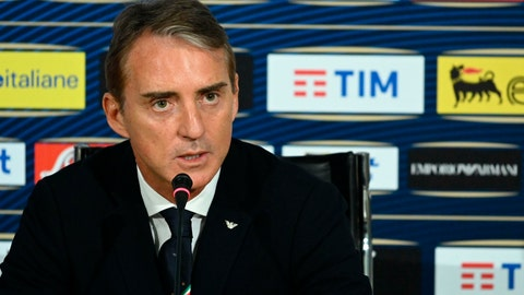<p>               Italian national soccer team coach Roberto Mancini speaks during a press conference at the Coverciano training center, near Florence, Italy, Monday, March 18, 2019. (Claudio Giovannini/ANSA via AP)             </p>