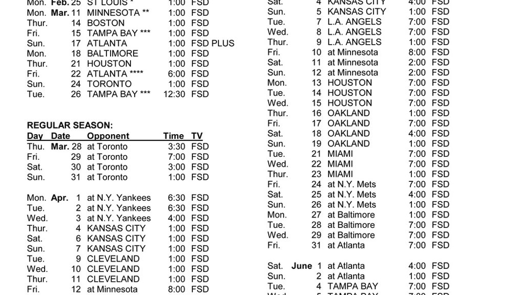 image regarding Atlanta Braves Tv Schedule Printable named 2019 Tigers Television set program FOX Sporting activities