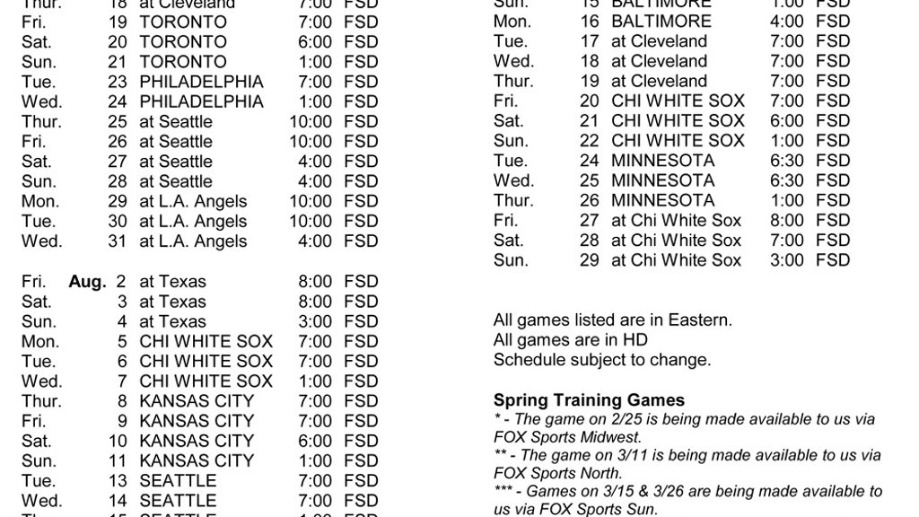 graphic regarding Detroit Tigers Printable Schedule known as 2019 Tigers Television set timetable FOX Athletics