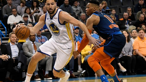 <p>               Oklahoma City Thunder guard Russell Westbrook (0) defends against Golden State Warriors guard Klay Thompson (11) during the first half of an NBA basketball game Saturday, March 16, 2019, in Oklahoma City. (AP Photo/June Frantz Hunt)             </p>