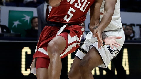 <p>               Washington State's Marvin Cannon (5) cannot handle a pass that was overthrown as California's Paris Austin, right, defends in the second half of an NCAA college basketball game Saturday, March 2, 2019, in Berkeley, Calif. (AP Photo/Ben Margot)             </p>