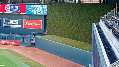 <p>               Opening day for the Minnesota Twins baseball team will feature a living wall behind center field of about 5,700 sea-green junipers plants which were shown to the media Monday, March 25, 2019, in Minneapolis. Spruce trees planted behind center field were a hit with fans at Minnesota's new ballpark when it opened in 2010, but when Twins hitters complained about the effect on their sightline at the plate the evergreens were pulled after just one season. The new solution juniper wall now planted in the batter's eye at Target Field meets the aesthetic and competitive requirements. (AP Photo/Jim Mone)             </p>