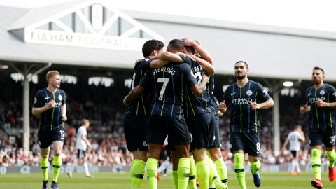 <p>               Manchester City players celebrate after Bernardo Silva scored the opening goal during the English Premier League soccer match between Fulham and Manchester City at Craven Cottage stadium in London, Saturday, March 30, 2019. (AP Photo/Alastair Grant)             </p>