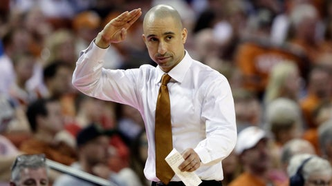 <p>               Texas head coach Shaka Smart signals to his players during the second half of an NCAA college basketball game against TCU, Saturday, March 9, 2019, in Austin, Texas. (AP Photo/Eric Gay)             </p>
