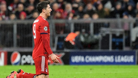 <p>               Bayern forward Robert Lewandowski reacts during the Champions League round of 16 second leg soccer match between Bayern Munich and Liverpool at the Allianz Arena, in Munich, Germany, Wednesday, March 13, 2019. (AP Photo/Kerstin Joensson)             </p>