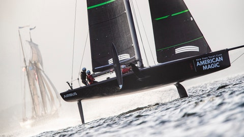 <p>               In a photo provided by New York Yacht Club's American Magic, American Magic's test boat knowns as the Mule undergoes training Feb. 23, 2019, at Pensacola, Fla. American Magic is the only one of the seven teams for the 2021 America's Cup that has built the closest thing allowed by the rules to what the actual race boat, the AC75, will look and perform like. American Magic is building its first AC75 in Rhode Island and expects it to be finished by the middle of the summer. (Armory Ross/NYYC American Magic via AP)             </p>