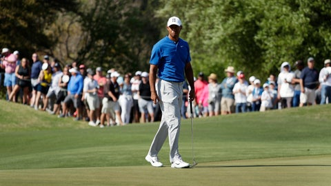 <p>               Tiger Woods prepares to putt on the 16th hole during round-robin play at the Dell Match Play Championship golf tournament Wednesday, March 27, 2019, in Austin, Texas. (AP Photo/Eric Gay)             </p>