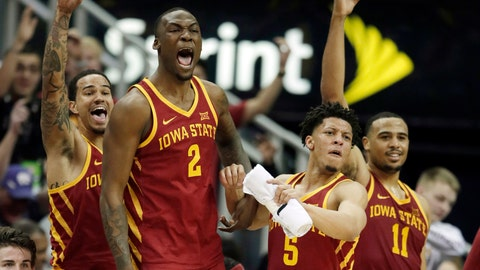 <p>               Iowa State players, from left, guard Nick Weiler-Babb, Cameron Lard (2), Lindell Wigginton (5) and Talen Horton-Tucker (11) celebrate from the bench during the second half of an NCAA college basketball game against Baylor in the quarterfinals of the Big 12 conference tournament in Kansas City, Mo., Thursday, March 14, 2019. Iowa State defeated Baylor 83-66. (AP Photo/Orlin Wagner)             </p>