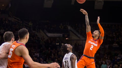 <p>               Clemson's Marcquise Reed (2) shoots over Notre Dame's T.J. Gibbs Jr. (10) during the first half of an NCAA college basketball game Wednesday, March 6, 2019, in South Bend, Ind. (AP Photo/Robert Franklin)             </p>