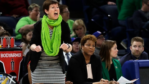 <p>               Notre Dame head coach Muffet McGraw yells during the first half of a regional semifinal game against the Texas A&M in the NCAA women's college basketball tournament, Saturday, March 30, 2019, in Chicago. (AP Photo/Nam Y. Huh)             </p>