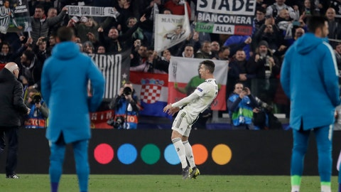 <p>               Juventus' Cristiano Ronaldo reacts at the end of the Champions League round of 16, 2nd leg, soccer match between Juventus and Atletico Madrid at the Allianz stadium in Turin, Italy, Tuesday, March 12, 2019. (AP Photo/Luca Bruno)             </p>