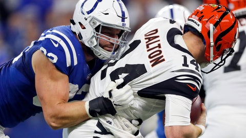 <p>               FILE - In this Sept. 9, 2018, file photo, Indianapolis Colts defensive end Margus Hunt (92) sacks Cincinnati Bengals quarterback Andy Dalton (14) during the second half of an NFL football game in Indianapolis. Hunt has re-signed with the Colts, keeping him off the free-agent market, the team announced Tuesday, March 5, 2019. (AP Photo/Jeff Roberson, File)             </p>