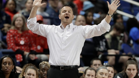 <p>               Louisville head coach Jeff Walz directs his team against Clemson during the first half of an NCAA college basketball game in the Atlantic Coast Conference women's tournament in Greensboro, N.C., Friday, March 8, 2019. (AP Photo/Chuck Burton)             </p>