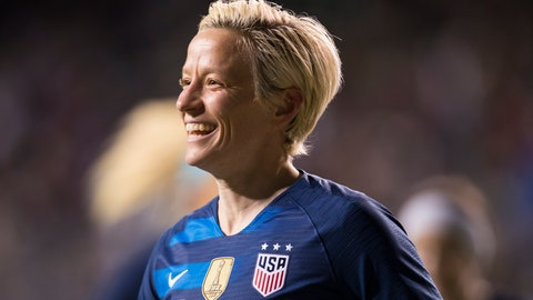 <p>               United States' Megan Rapinoe reacts to scoring a goal during the first half of SheBelieves Cup soccer match against the Japan, Wednesday, Feb. 27, 2019, in Chester, Pa. (AP Photo/Chris Szagola)             </p>