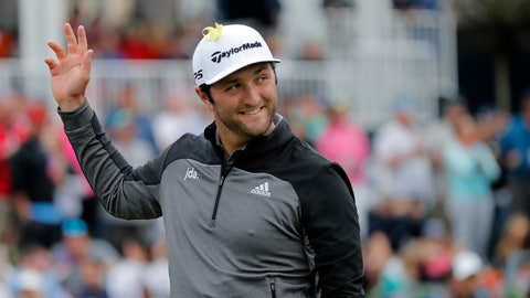 <p>               Jon Rahm, of Spain, waves to the gallery as he arrives at the 17th hole during the third round of The Players Championship golf tournament Saturday, March 16, 2019, in Ponte Vedra Beach, Fla. (AP Photo/Gerald Herbert)             </p>