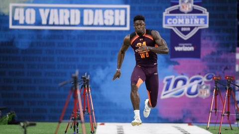 <p>               Mississippi wide receiver D.K. Metcalf runs the 40-yard dash during the NFL football scouting combine, Saturday, March 2, 2019, in Indianapolis. (AP Photo/Darron Cummings)             </p>