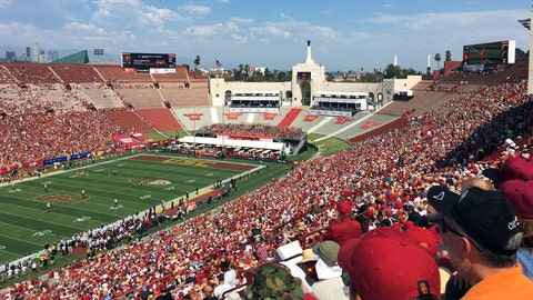 <p>               In this Sept. 2, 2017 photo, fans fill the Los Angeles Memorial Coliseum during a University of Southern California NCAA college football game in Los Angeles. United Airlines offered Friday, March 29, 2019, to withdraw from a $69 million deal to change Los Angeles Memorial Coliseum into United Airlines Memorial Coliseum following criticism that adding a corporate name is disrespectful to the facility's history of honoring troops who fought and died in World War I.  (AP Photo/John Antczak)             </p>