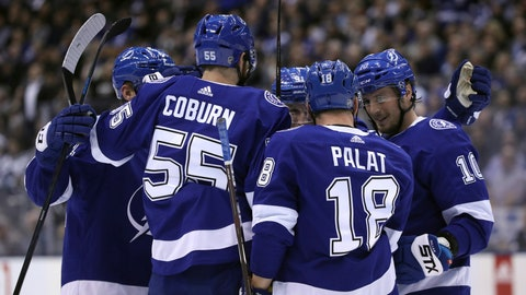 <p>               Tampa Bay Lightning defenseman Braydon Coburn (55), left wing Ondrej Palat (18), and center J.T. Miller (10) celebrate a second-period goal against the Toronto Maple Leafs in NHL hockey game action in Toronto, Monday, March 11, 2019. (Cole Burston/The Canadian Press via AP)             </p>