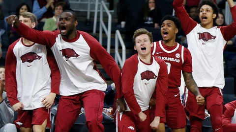 <p>               The Arkansas bench reacts during the second half of a first round NCAA National Invitation Tournament college basketball game against Providence in Providence, R.I., Tuesday, March 19, 2019. (AP Photo/Michael Dwyer)             </p>