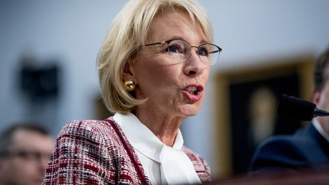 <p>               Education Secretary Betsy DeVos speaks during a House Appropriations subcommittee hearing on budget on Capitol Hill in Washington, Tuesday, March 26, 2019. (AP Photo/Andrew Harnik)             </p>