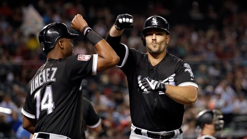 <p>               Chicago White Sox's Daniel Palka, right, is congratulated on his two-run home run by Eloy Jimenez in the seventh inning of a spring training baseball game against the Arizona Diamondbacks, Monday, March 25, 2019, in Phoenix. (AP Photo/Elaine Thompson)             </p>