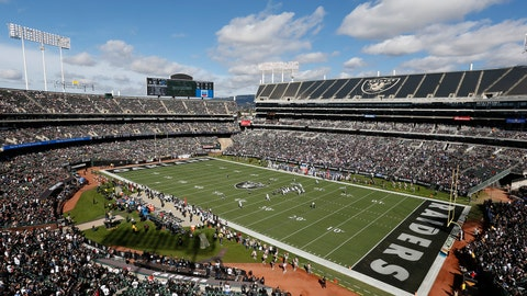 <p>               FILE - In this Oct. 28, 2018, file photo, fans watch during the first half of an NFL football game between the Oakland Raiders and the Indianapolis Colts at Oakland Alameda County Coliseum in Oakland, Calif. The Coliseum Authority approved a lease agreement on Friday, March 15, 2019,  to keep the Raiders in Oakland for at least one more season. (AP Photo/D. Ross Cameron, File)             </p>
