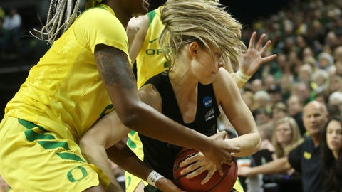 <p>               Oregon's Ruthy Hebard, left, and Sabrina Ionescu, behind, pressure Portland State's Sidney Rielly, right, during the first half of of a first-round game of the NCAA women's college basketball tournament Friday, March 22, 2019, in Eugene, Ore. (AP Photo/Chris Pietsch)             </p>