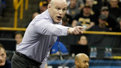 <p>               FILE - In this March 5, 2016, file photo, Penn State's Cael Sanderson yells during a 141 pound weight class match during the Big Ten Wrestling Championships in Iowa City, Iowa. Penn State is poised to send out another senior class as four-time national champions, and cement its status as the pre-eminent collegiate powerhouse of the past decade. (AP Photo/Matthew Holst, File)             </p>