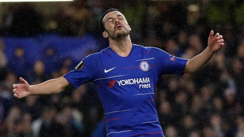 <p>               Chelsea's Pedro Rodriguez reacts after missing a shot during the Europa League round of 16, first leg soccer match between Chelsea and Dynamo Kyiv at Stamford Bridge stadium in London, Thursday, March 7, 2019. (AP Photo/Kirsty Wigglesworth)             </p>