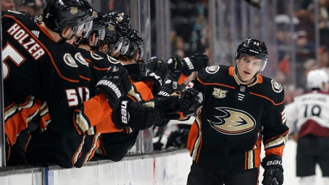 <p>               Anaheim Ducks' Jakob Silfverberg (33) celebrates his goal with teammates during the first period of an NHL hockey game against the Colorado Avalanche, Sunday, March 3, 2019, in Anaheim, Calif. (AP Photo/Marcio Jose Sanchez)             </p>