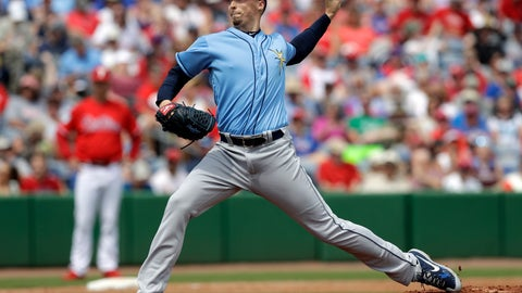 <p>               Tampa Bay Rays starting pitcher Blake Snell delivers to the Philadelphia Phillies during the second inning of a spring training baseball game Monday, March 11, 2019, in Clearwater, Fla. (AP Photo/Chris O'Meara)             </p>