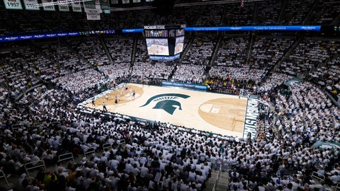 <p>               Fans watch the first half of an NCAA college basketball game between Michigan State and Michigan, Saturday, March 9, 2019, in East Lansing, Mich. (AP Photo/Al Goldis)             </p>