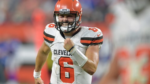 <p>               FILE - In this Aug. 17, 2018, file photo, Cleveland Browns quarterback Baker Mayfield celebrates in the second half of the team's NFL football preseason game against the Buffalo Bills, in Cleveland. With a shocking, blockbuster trade for superstar wide receiver Odell Beckham Jr., the Browns flipped the NFL on its helmet and instantaneously changed their national perception. The Browns roster now includes Beckham, Mayfield, Jarvis Landry and Myles Garrett. (AP Photo/David Richard, File)             </p>