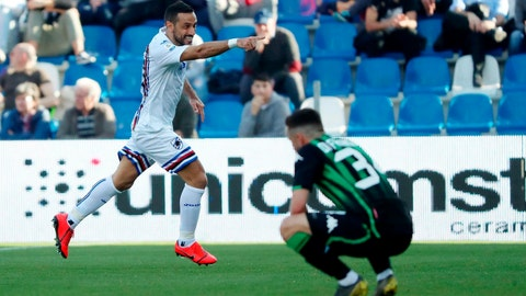 <p>               Sampdoria's Fabio Quagliarella celebrates after scoring during a Serie A soccer match between Sassuolo and Sampdoria at Mapei stadium in Reggio Emilia, Italy, Saturday, March 16, 2019. (Simone Venezia/ANSA via AP)             </p>