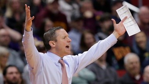 <p>               Florida coach Mike White calls instructions during the first half of a second round men's college basketball game against Michigan in the NCAA Tournament, in Des Moines, Iowa, Saturday, March 23, 2019. (AP Photo/Nati Harnik)             </p>