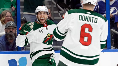 <p>               Minnesota Wild left wing Jason Zucker (16) celebrates his goal against the Tampa Bay Lightning with center Ryan Donato (16) during the first period of an NHL hockey game Thursday, March 7, 2019, in Tampa, Fla. (AP Photo/Chris O'Meara)             </p>