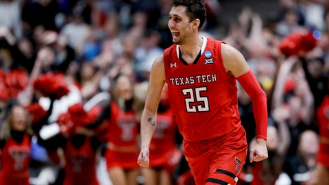 <p>               Texas Tech guard Davide Moretti celebrates after scoring against Gonzaga during the second half of the West Regional final in the NCAA men's college basketball tournament Saturday, March 30, 2019, in Anaheim, Calif. (AP Photo/Marcio Jose Sanchez)             </p>