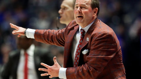 <p>               Mississippi head coach Kermit Davis yells to his players in the second half of an NCAA college basketball game against Alabama at the Southeastern Conference tournament Thursday, March 14, 2019, in Nashville, Tenn. Alabama won 62-57. (AP Photo/Mark Humphrey)             </p>
