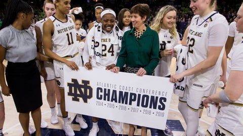 <p>               Notre Dame head coach Muffet McGraw celebrate on the court after clinching the regular season ACC conference championship following an NCAA college basketball game against Virginia Sunday, March 3, 2019, in South Bend, Ind. Notre Dame won 103-66. (AP Photo/Robert Franklin)             </p>
