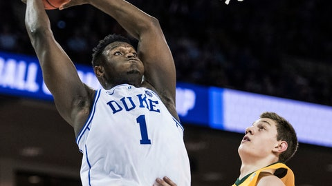 <p>               Duke forward Zion Williamson (1) goes up for a dunk against North Dakota State forward Rocky Kreuser (34) during the first half of a first-round game in the NCAA men's college basketball tournament Friday, March 22, 2019, in Columbia, S.C. (AP Photo/Sean Rayford)             </p>