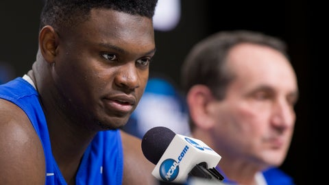 <p>               Duke forward Zion Williamson speaks, accompanied by head coach Mike Krzyzewski, during an NCAA men's college basketball news conference in Washington, Saturday, March 30, 2019. Duke plays Michigan State in the East Regional final game on Sunday. (AP Photo/Alex Brandon)             </p>