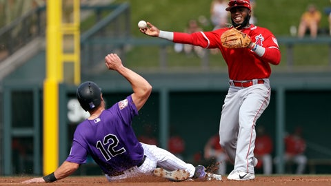 <p>               Los Angeles Angels second baseman Luis Rengifo, right, throws to first after forcing out Colorado Rockies' Mark Reynolds at second base in the second inning of a spring training baseball game Wednesday, March 6, 2019, in Scottsdale, Ariz. Rockies' Pat Valaika was safe at first on the fielder's choice play. (AP Photo/Elaine Thompson)             </p>