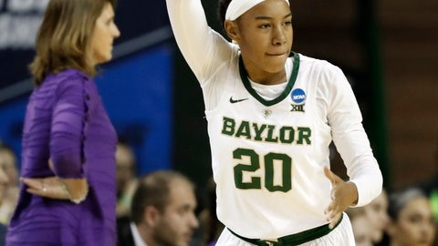 <p>               Baylor guard Juicy Landrum (20) celebrates sinking a 3-point basket in the first half of a first-round game against Abilene Christian in the NCAA women's college basketball tournament in Waco, Texas, Saturday March 23, 2019.(AP Photo/Tony Gutierrez)             </p>