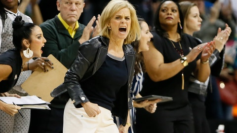 <p>               Baylor head coach Kim Mulkey instructs her team against Iowa State during the first half of an NCAA college basketball game in the Big 12 women's conference tournament championship in Oklahoma City, Monday, March 11, 2019. (AP Photo/Alonzo Adams)             </p>