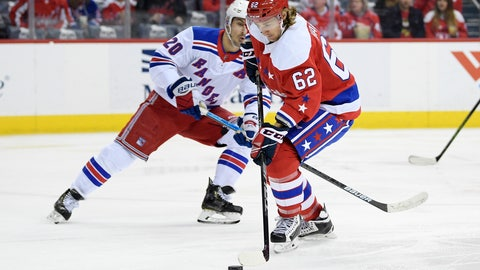 <p>               Washington Capitals left wing Carl Hagelin (62), of Sweden, skates with the puck against New York Rangers left wing Chris Kreider (20) during the second period of an NHL hockey game, Sunday, Feb. 24, 2019, in Washington. (AP Photo/Nick Wass)             </p>