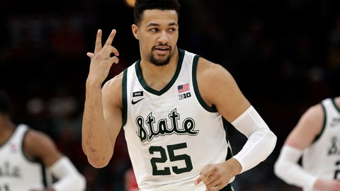 <p>               Michigan State's Kenny Goins (25) reacts after shooting a 3-point basket during the first half of an NCAA college basketball game against Wisconsin in the semifinals of the Big Ten Conference tournament, Saturday, March 16, 2019, in Chicago. (AP Photo/Nam Y. Huh)             </p>