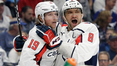 <p>               Washington Capitals center Nicklas Backstrom (19) celebrates his goal against the Tampa Bay Lightning with left wing Alex Ovechkin (8) during the first period of an NHL hockey game Saturday, March 30, 2019, in Tampa, Fla. (AP Photo/Chris O'Meara)             </p>
