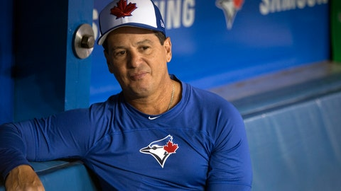 <p>               Toronto Blue Jays manager Charlie Montoyo sits in the dugout following a baseball workout in Toronto, Wednesday, March 27, 2019. The Blue Jays host the Detroit Tigers on opening day Thursday. (Chris Young/The Canadian Press via AP)             </p>